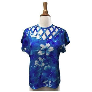 Vintage Peek-a-Boo Blue Hawaiian Hibiscus Top